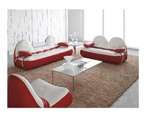 Salon cuir complet Vancouver Assise blanche côté rouge Cuir + PVC