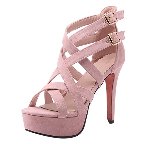YE Damen Offene Gladiator Sandalen Cut Out High Heels Plateau Pumps Stiletto mit Schnalle Elegant Party Schuhe Rosa