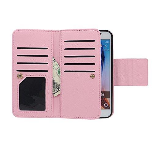 Hülle für Samsung S6, xhorizon FX Prämie Leder Folio Case [Brieftasche] [Magnetisch abnehmbar] Uhrarmband Geldbeutel Flip Vogel Tasche Hülle für Samsung Galaxy S6 mit einer Auto Einfassungs Halter Rosa