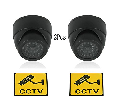 BW 2X Dummy Fake Surveillance Security CCTV Dome Camera With LED Blinking Real imitation Black