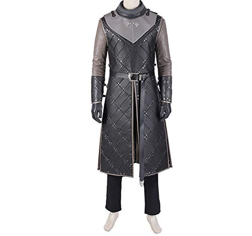 Of Game Männliche Thrones Kostüm - nihiug Game of Thrones Staffel 8 Cosplay Kostüm Jon Snowo Umhang Full Cos Kostüm Männlich Halloween,Grey-XL