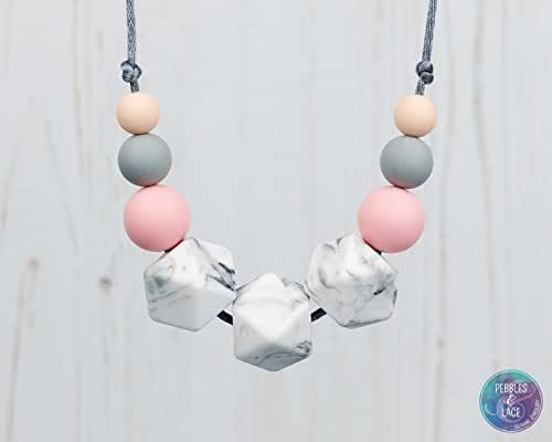 Teething and Fiddle Necklace - ROSE MARBLE: FLORA