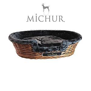 """Michur Hunde-/ Katzenkorb """"Lumpi Tabak"""",Größe (ca.): 55x40x15cm, Kissen/ Liegefläche 42x28cm, Einstiegshöhe 8cmUnsere Weidenkörbe werden aufwändig in Handarbeit geflochten, dadurch handelt es sich im Prinzip bei jedem Einzelstück um ein Unikat. Auch ..."""