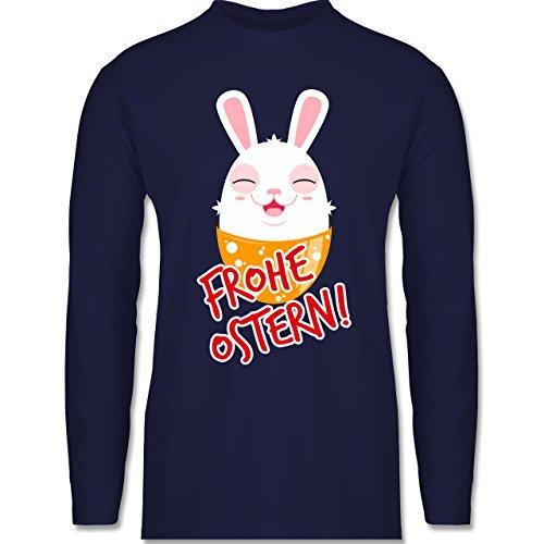 Ostern - Frohe Ostern - Osterhase - Longsleeve / langärmeliges T-Shirt für Herren Navy Blau