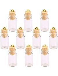 Ndier - Juego DE 10 Botellas de Corcho de Cristal Vacías con Colgantes, Diseño de