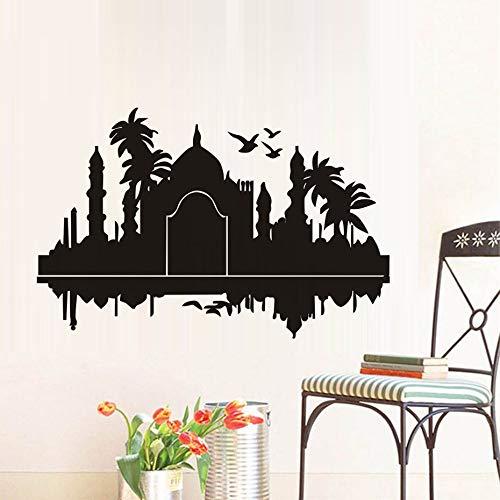 Taj Mahal Indien Wandaufkleber Palmen Vögel Silhouette Wasserdicht Art Vinyl Aufkleber Wohnzimmer Zubehör Art Home Office 89 * 58 cm