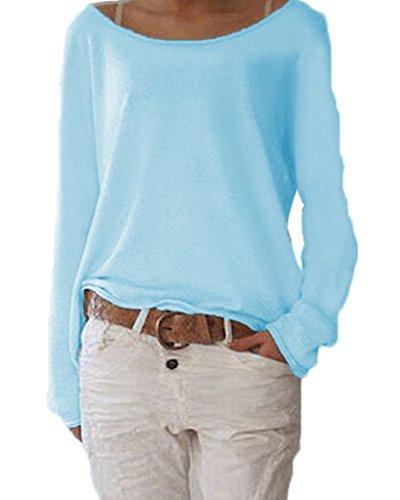 ZIOOER New Arrival Design Damen Pulli Langarm T-Shirt Rundhals Ausschnitt Lose Bluse Hemd Pullover Oversize Sweatshirt Oberteil Tops Cyan M