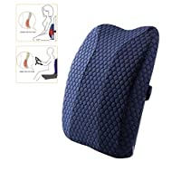 Gluckluz Lumbar Pillow Back Support Ergonomic Memory Foam Backrest with Adjustable Strap for Office Chair Car Seat Pain Relief (Blue)