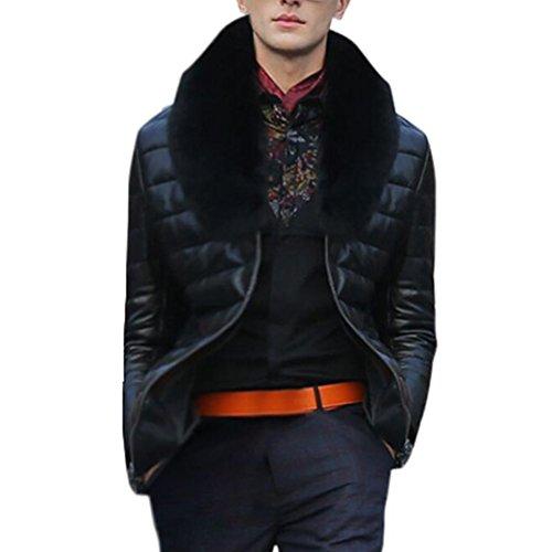 LeeY Mode Herren Herbst Winter Warm Schwarz Lange Ärmel Verdickung Leder Mantel Jacke Faux Pelz Halsband Parka Täglich Beiläufig Arbeit Outwear Strickjacke (Schwarz, S) (Tweed Aus Leder-jacke-mantel Mit)
