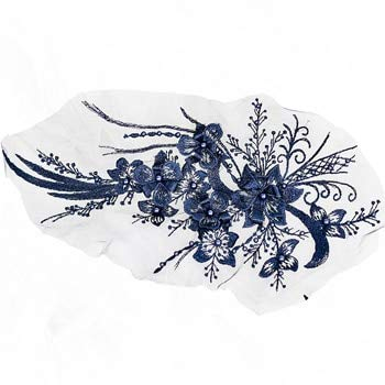 Applikationen Tanz Für Kostüm - Lace Crafts - 1 Stück rote 3D-Blumen-Spitze, Braut-Spitzen-Applikation für Tanz-Kostüme, Brautkleid Saum Zubehör dunkelblau