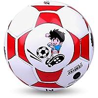Delicacydex Tamaño Oficial 2 Balón de fútbol de Cuero de la PU estándar Entrenamiento Fútbol Interior al Aire Libre con Aguja Neta Gratuita para Estudiantes de niños - Rojo