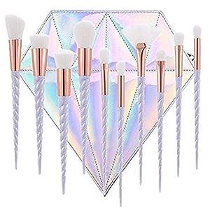 LAAT 10 PCs de Pinceles de Maquillaje Forma de Sirena Kit de Brochas para Cosméticas