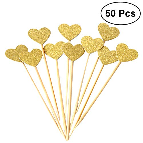 (OUNONA Kuchen Toppers 50 Zählungen Handmade Peach Herz Hochzeit Dekoration Party Supplies Cupcake Toppers)