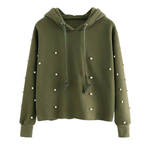 Internet Damen Solide Langarm Kapuzen Blusen Sweatshirt Pullover Top (Armeegrün, L) (Perle-mädchen-socken)
