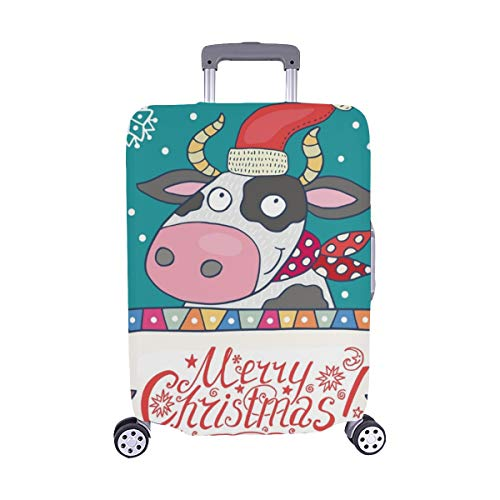 (Nur abdecken) Christmas grußkarte süß Kuh Muster Staubschutz Trolley Protector case Fall reisegepäck auf 28,5 x 20,5 cm beschützer Koffer - Grußkarten Kuh