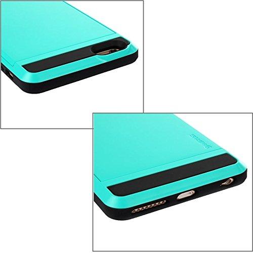BING Für IPhone 6 Plus / 6S Plus Blade PC + TPU Kombi-Gehäuse mit Kartensteckplatz BING ( Color : Green ) Blue
