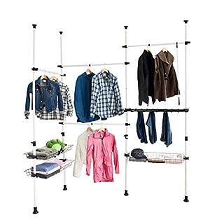 SoBuy® FRG38 Teleskop Garderoben System, Kleideraufbewahrungssystem, Regalsystem mit 4 Kleiderstange und 3 Körben