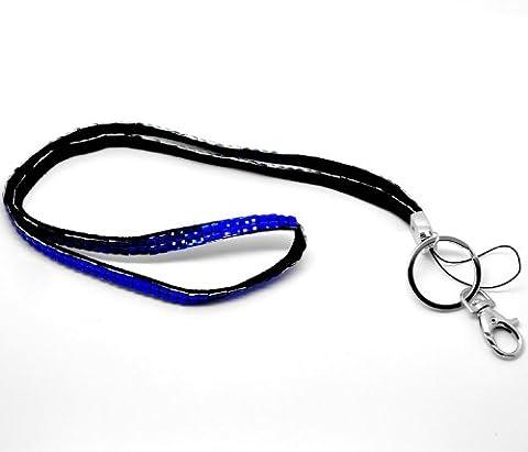 CKB Ltd 1x Bling ID Blue Blau Acryl Rhinestone Stil Lanyard Band Halsband Swivel Metal Clip - Mostra Acrilico Contenitore