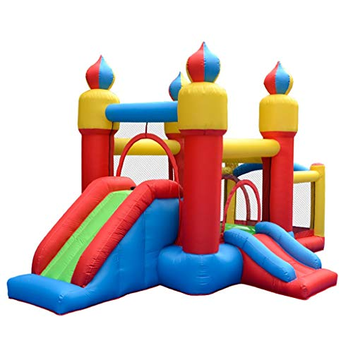 Hüpfburgen Outdoor Kinderrutsche Kinderspielplatz Home Kinder Aufblasbaren Park Indoor Hüpfbett Spielzeug Aufblasbares Trampolin (Color : Color, Size : 435 * 270 * 225cm)
