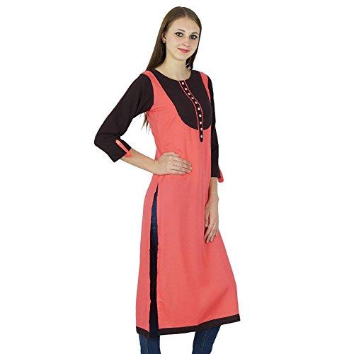 Designer Bollywood Kurta Casual Kurti Ethnique Coton Top Tunique Saumon Et Marron