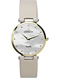 Michel Herbelin Epsilon Midi Stp Women's Quartz Watch with Mother of Pearl Dial Analogue Display and White Leather Strap 17343/T89IVO
