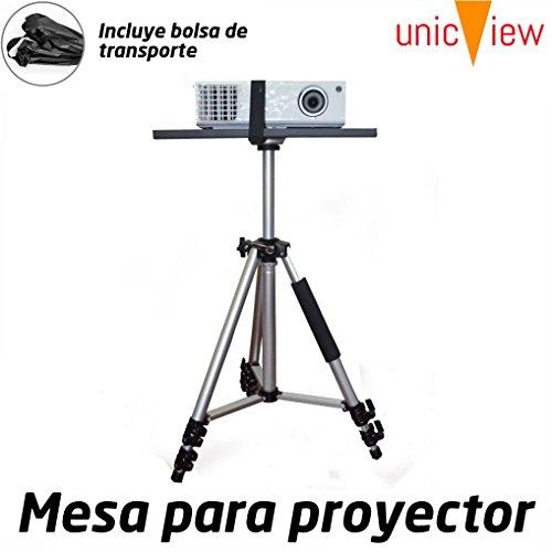 Tavolo per proiettore pieghevole e portatile in alluminio con rinforzo Anti Caidas/Piattaforma antiscivolo per il proiettore, regolabile da 50cm fino a 1,5metri, con borsa di trasporto