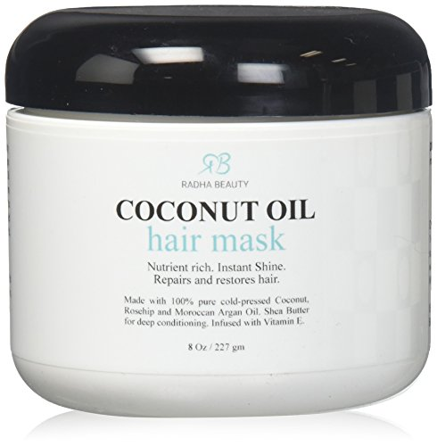 Masque Coconut Hair Oil - Deep Conditioner 100% pressée à froid de noix de coco, d'argan, l'huile de rose musquée et Beurre de Karité - Réparation et Hydrater sec, endommagé ou cheveux colorés - pour tous les types de cheveux 8 Oz