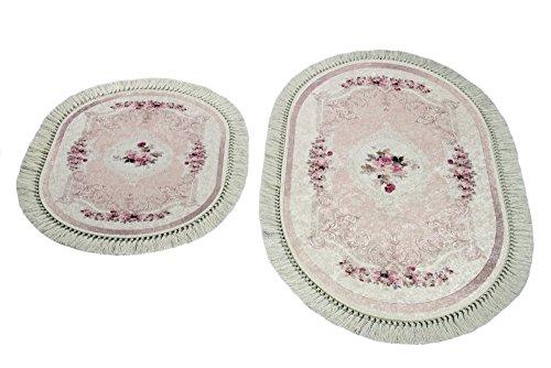 Merinos Badematte WC Teppich Set 2 teilig mit Blumen in Rosa Größe 60x100 cm + 50x60 cm Oval
