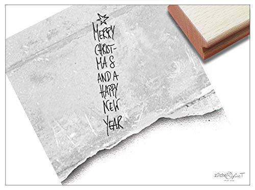 Stempel Weihnachtsstempel MERRY CHRISTMAS AND A HAPPY NEW YEAR - Typostempel Weihnachten Karten Geschenkanhänger Weihnachtsdeko - zAcheR-fineT