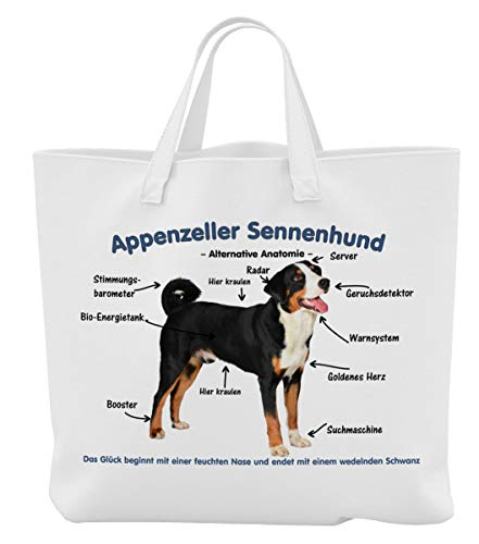Merchandise for Fans Einkaufstasche - 45 x 42 cm x 9,5 cm, 18 Liter - Motiv: Appenzeller Sennenhund Alternative Anatomie - 01