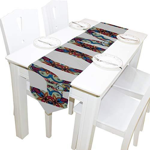 Yushg Stammes ethnischen Stil Zeichen Indien Rom Paris Kommode Schal Tuch Abdeckung Tischläufer Tischdecke Tischset Küche Esszimmer Wohnzimmer Home Hochzeit Bankett Dekor Indoor 13x90 Zoll