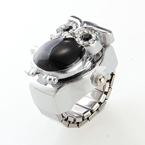 Skyllc® Anillo Reloj Metal Circonita Forma Búho Moda 25 x 20 mm