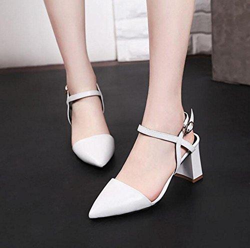 SHINIK Frauen Spitz Zehe Pumpe D'Orsay Wölbung High-Heel Knöchel Strap Sandalen Weiße Schuhe können angepasst werden Größe Code White