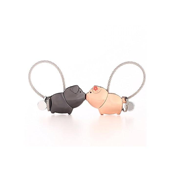 Joykey Liebhaber Schlüsselanhänger 1 Paar Schweine partneranhänger mit Magnetischen Mund,Süßes Geschenk für Valentinstag…