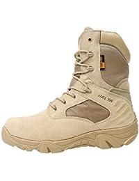 Juleya Botas Militares tácticas | Combat Army Shoes para Hombres | Deportes al Aire Libre Que acampan yendo de excursión Zapatos de Cuero Cremallera Laterales Ligeros Respirables