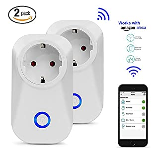 Automatische WiFi Steckdose funktioniert mit Amazon Alexa (Echo und Echo Dot), Smart Plug WLAN Home Steckdose Plug Intelligente Smart Swatch für IOS und Android Smartphones für Haus und Büro Fernbedie (2pcs)