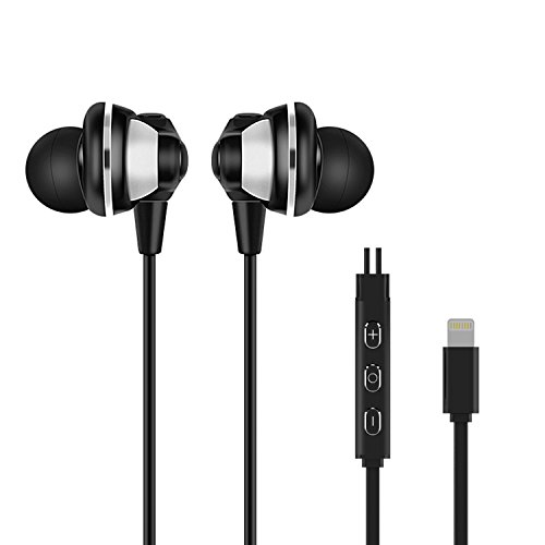 RIVERSONG ® Lightning Auricolare, Cuffie In-Ear Riduzione del rumore wired headset per iPhone 7/7plus, iPhone 6/6s plus, iPhone 5/5s, iPod, iPad- Nero