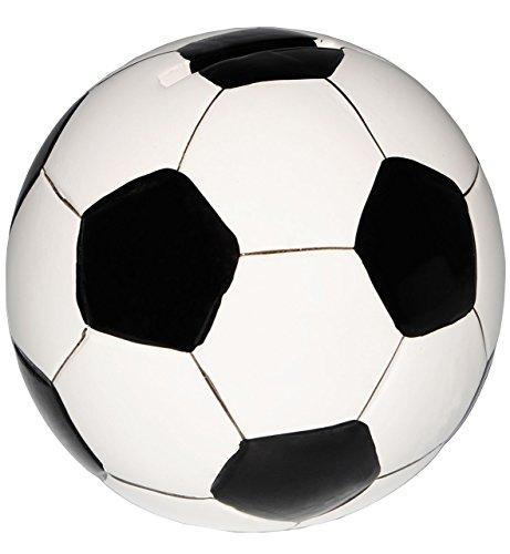alles-meine.de GmbH Große Spardose -  Fußball / Ball - Weiß & Schwarz  - Stabile Sparbüchse aus ..