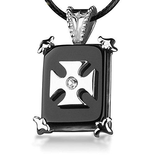 Collana del pendente nero dell'acciaio inossidabile Stone Cross Jewelry