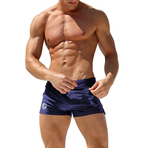 GenialES Homme Maillot de Bain Short de Bain Homme Boxer Trunks Shorts pour Plage Natation Plongée Sèche Vite Bleu Foncé