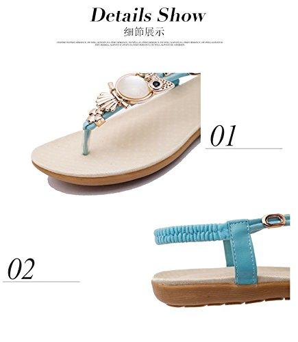 Gaorui Damen T-Spange Sandaletten Knöchelriemen Sandalen Strand Schuhe Eule Muster Blau Beige