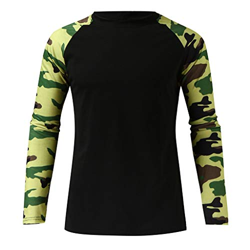 YUHUISTART Beiläufig Hemd Strickpullover Unterhemd Sportshirt Slim Camouflage Patchwork Langarm T Shirt Top Bluse (Kurt Cobain Kostüm Shirt)