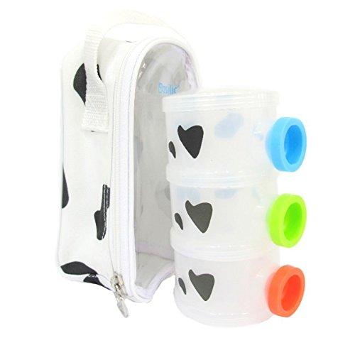 Basilic Baby Formula Milk Powder Dispenser - 3 Compartment (Cow Pattern)
