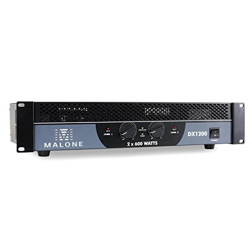 Malone DX1200 • PA-Endstufe • Verstärker • Lautstärkeregler • 1200 Watt • brückbar • 2/1-Kanal-Betrieb • 48 cm-Rackeinbau geeignet • LED-Indikation • Metallgehäuse • 48,2 x 8,8 x 31,4cm • schwarz