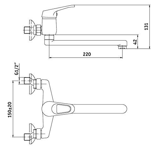 Küchenarmatur schwenkbarer Auslauf, Wandmontage Mischbatterie Küche Wasserhahn -