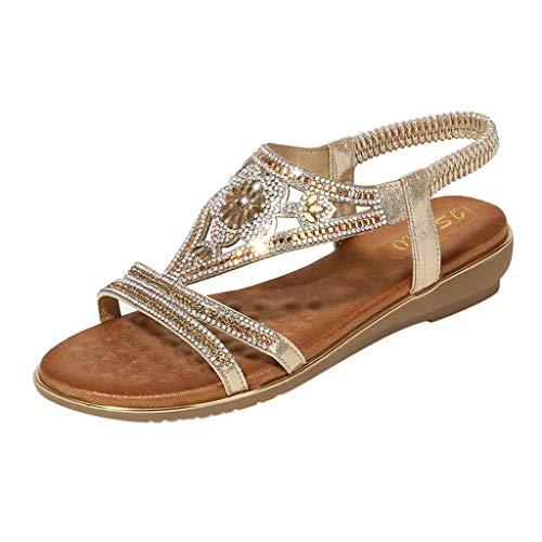 Sandali da Donna Stile Boemo in Spiaggia con Eleganti Bassi Moda per Sandalo Estate Pantofole da Bambina Piatti del Elegante Comfort Scarpe Decorare a Forma di Fiore Werstand