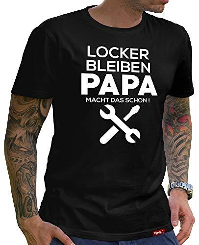 HARIZ  Herren T-Shirt Papa Collection 36 Designs Wählbar Schwarz Vatertag Weihnachten Männer Geschenk Karte Urkunde Papa02 Macht Das Schon M