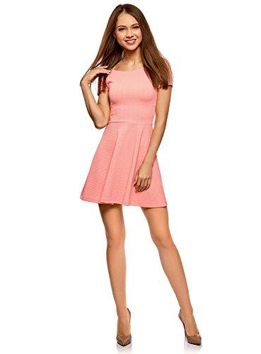 oodji Ultra Damen Tailliertes Kleid mit V-Ausschnitt am Rücken, Rosa, DE 34 / EU 36 / XS