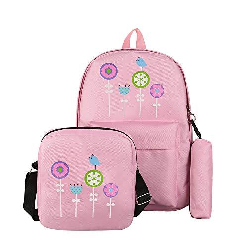 Ode_Joy 3Pcs zaini scuola tela studente modello femminile + borsa a tracolla + sacchetto della penna-Borsa da viaggio di grande capacità-Zaino per studenti-Borsa da viaggio all'aperto