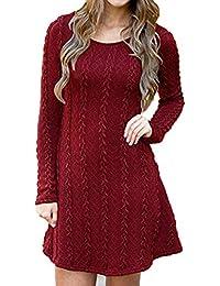 Vestido de Punto Jersey suéter Mujer de Cuello Redondo otoño Invierno de ...